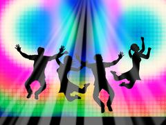 jumping joy represents light burst and happy - stock illustration