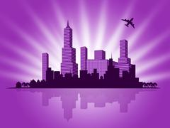 copyspace background means buildings downtown and abstract - stock illustration