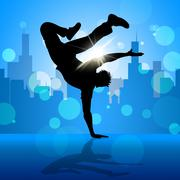 break dancer indicates street dancing and breakdancing - stock illustration