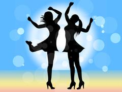 disco dancing shows female celebration and people - stock illustration