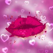 Beauty hearts indicates human lips and face Stock Illustration