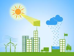 Solar power represents city cityscape and downtown Stock Illustration