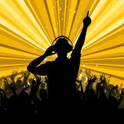 dj disco shows dancing discotheque and party - stock illustration