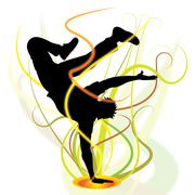break dancer shows disco music and breakdancing - stock illustration