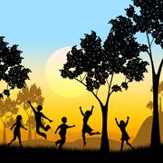Playing tree represents kids youngsters and childhood Stock Illustration