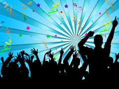 party silhouettes shows disco dancing and celebration - stock illustration