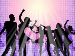 dancing party means disco music and celebration - stock illustration
