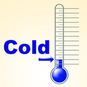 Cold thermometer indicates thermostat freeze and freezing Stock Illustration