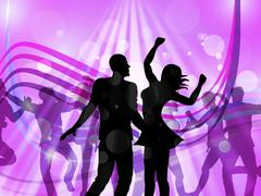 Disco dancing represents parties discotheque and cheerful Stock Illustration
