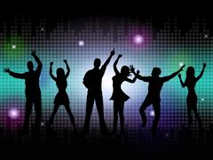 people silhouette means disco music and dance - stock illustration