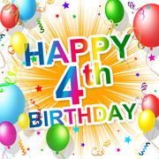 Stock Illustration of fourth birthday represents celebration celebrate and congratulations