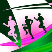 Jogging exercise shows get fit and race Stock Illustration