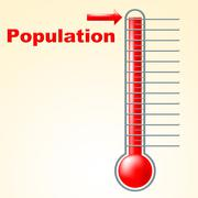 Stock Illustration of thermometer population shows thermostat celsius and temperature