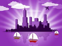 Relax background shows sail yachting and boats Stock Illustration