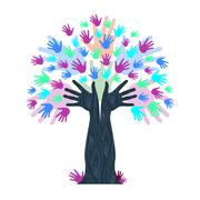 Hands growth indicates tree trunk and artwork Stock Illustration