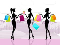 Stock Illustration of shopper women shows commercial activity and adults