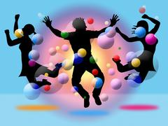 Excitement jumping indicates disco dancing and activity Stock Illustration