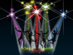 Spotlight joy represents stage lights and active Stock Illustration
