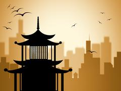 silhouette pagoda shows worship asian and buddhism - stock illustration