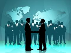 Partnership world means work together and cooperation Stock Illustration