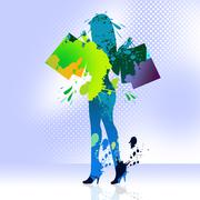 Woman shopping represents retail sales and adult Stock Illustration
