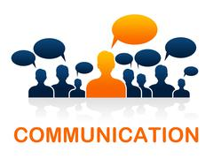 Communication team represents group communicate and conversation Stock Illustration