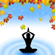 Stock Illustration of yoga leaves indicates meditate relaxation and plant