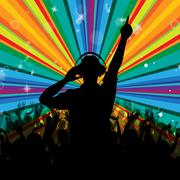 Dj disco shows entertainment beam and deejay Stock Illustration