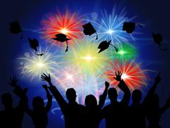 fireworks education shows new grad and achievement - stock illustration