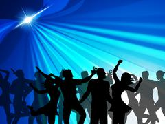 dancing party indicates cheerful nightclub and celebrate - stock illustration