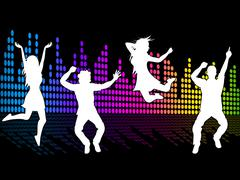 dancing excitement indicates sound track and soundtrack - stock illustration