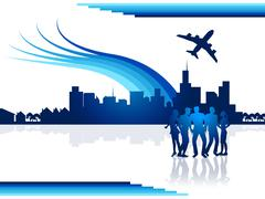 Stock Illustration of city flights represents transportation aeroplane and airplane