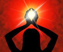 Yoga pose means meditating spirituality and meditation Stock Illustration