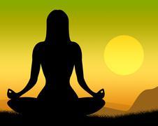 yoga pose shows poses peaceful and meditation - stock illustration