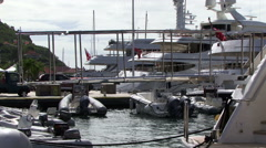 Stock Video Footage of St Bart harbor American virgin islands luxury yacht caribbean