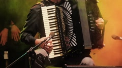 Close-up musician with accordion - stock footage