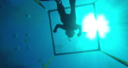 Stock Video Footage of 2D blue hole looking up at freedivers
