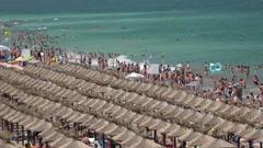 Golden Sands beach (Zlatni Piasci) in Bulgaria. 4K. Stock Footage