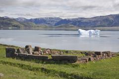 Excavated ruins of the normans, qassiarsuk, greenland Stock Photos