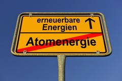 Symbolic image in the form of a town sign, in german, exit from atomic energy Stock Photos