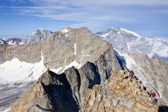view during ascent to mt hoher angelus, ortler range, mountains ortler, koeni - stock photo