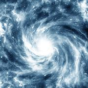Blue spiral Galaxy in the background of black space. Azure colorise - stock illustration