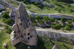 rock dwelling, uchisar, cappadocia, turkey - stock photo