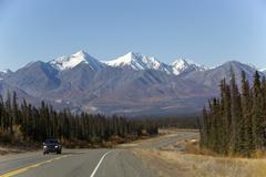 indian summer along alaska highway, leaves in fall colours, autumn, st. elias - stock photo