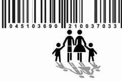 symbolic image for family, observation of families, with barcode, illustratio - stock illustration