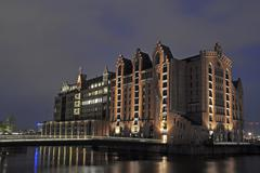 maritimes museum, maritime museum, night shot, hafencity quarter, hamburg, ge - stock photo