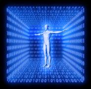 Stock Illustration of man in a futuristic room made from binary code, concept digitalisation, virtu