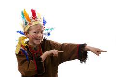 A boy, 7 years, wearing american indian fancy dress Stock Photos