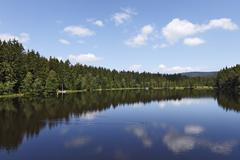 Lake fichtelsee near fichtelberg, fichtelgebirge mountain range, upper franco Stock Photos