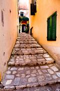 stairs in a narrow alleyway, rio nell'elba, elba island, italy, europe - stock photo
